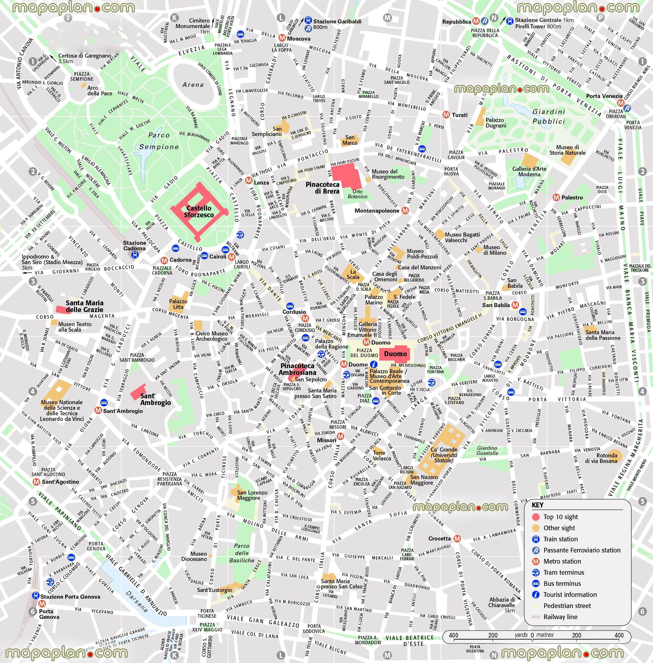 Kort Over Det Centrale Milano Kort Over Det Centrale Milano