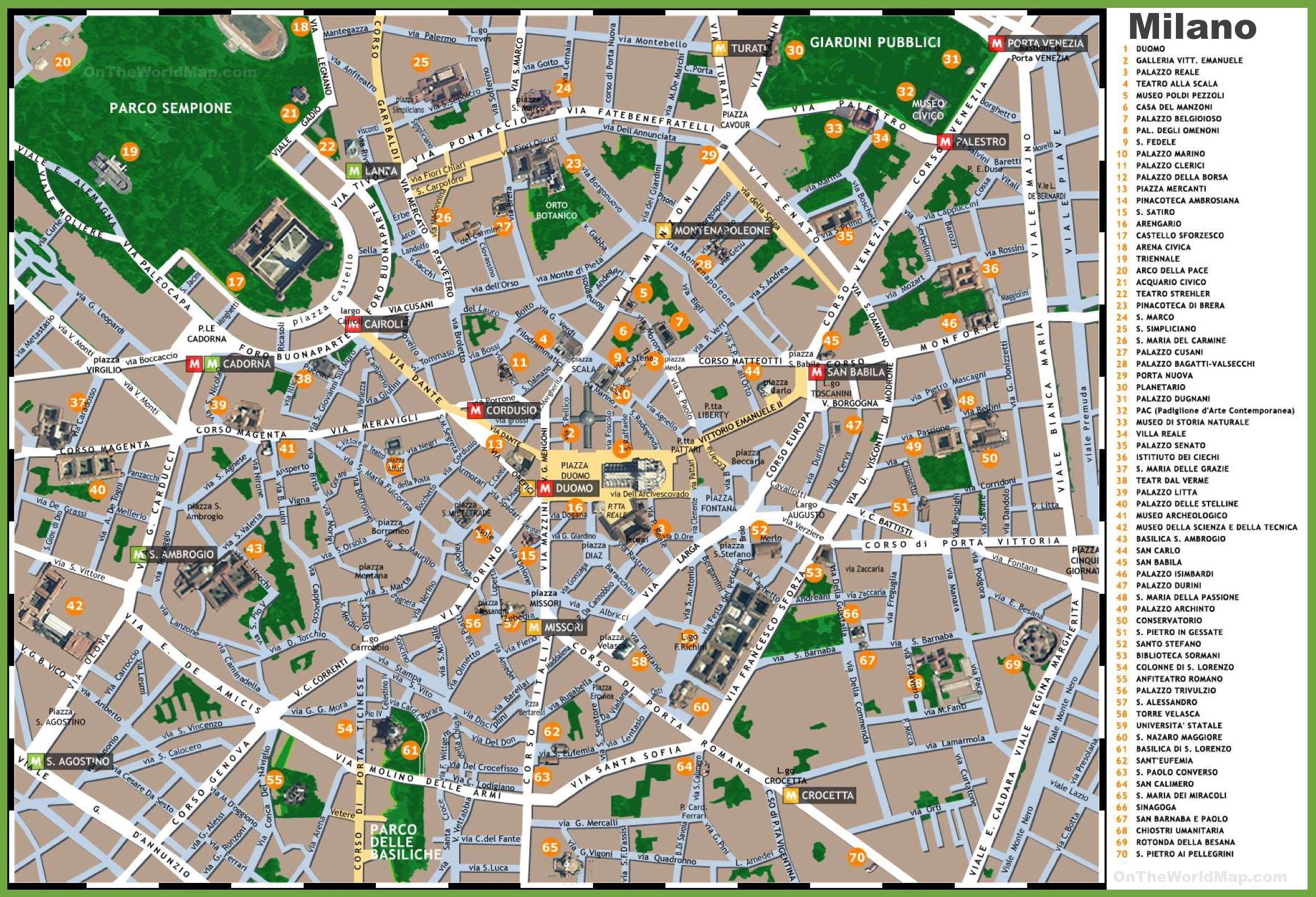 Milano Italien Kort Turist Kort I Milano Italien Turist