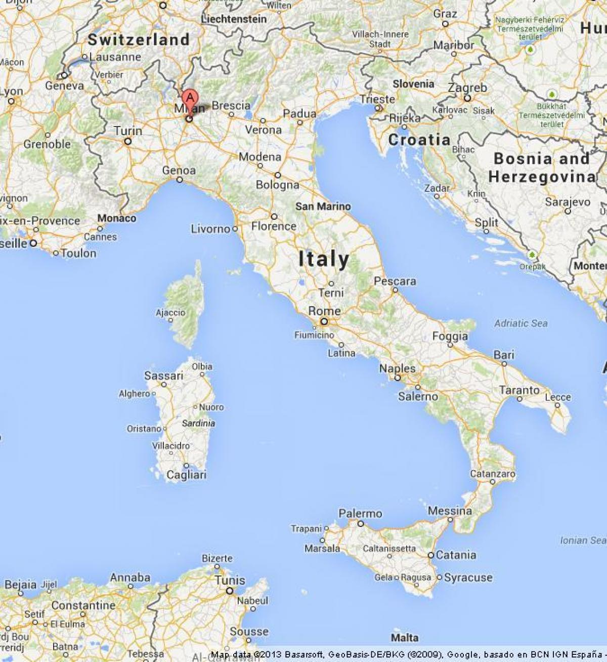 Milano Verdenskort Milano I Verden Kort Lombardiet Italien